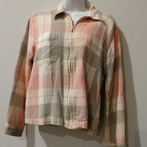 Dress Barn pink plaid zipper shirt medium